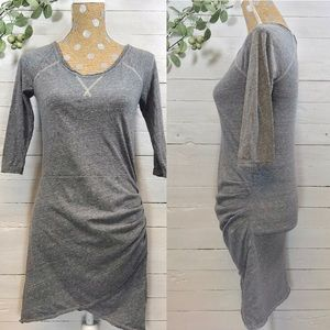Free People Beach 3/4 Sleeve Gray T-shirt Dress